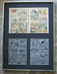 Walt Disney's Donald Duck Vintage 1956 Two Page Printing Plate And Pages