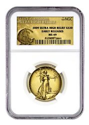 2009 $20 NGC-MS 69 ER EARLY RELEASE ULTRA HIGH RELIEF Gold Double Eagle Coin