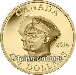 Canada 2014 First Royal Visit 75th 200 Ultra High Relief .99999 Pure Gold Ogp