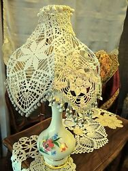 New Beautiful Lamp With The Crochet Lamp Shade Sold As Single