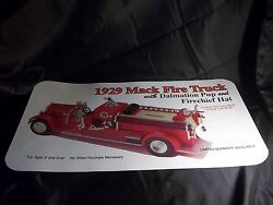 Texaco Advertising Store Display Sign 1929 Mack Die-cast Fire Truck Bank 24x12