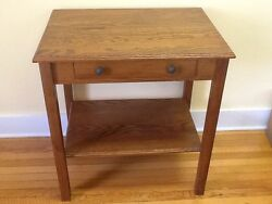 Vintage Greene Mfg. Co./arts And Crafts Table /2 Pull Drawer W/orig. Paper Sticker