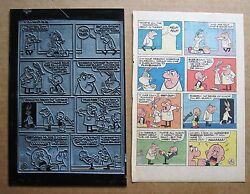 Bugs Bunny And Elmer Fudd Dentist Office Vintage 1972 Printing Plate And Comic Page