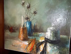 Vintage 1970 Original Wonink Painting Large 20 X 24 Inches Hat And Dried Flowers
