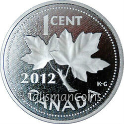 Canada 2012 Farewell To The Penny 1¢ One Cent 5 Oz Pure Silver Proof