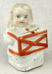 Antique Early Small German Porcelain Girl Bank C1890