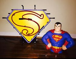 Superman Promotional Neon Display Sign Superman And Batman Cookie Collector Jars