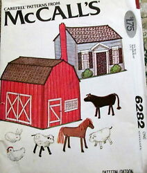 Vtg 70s Soft Sculpture Barn Horse Cow Toy Pattern Tote Carry All Doll House