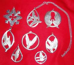 1971 1978 Wallace Sterling Silver Peace Doves Christmas Ornament Complete Set