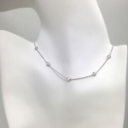 2 Ct Diamond By The Yard Station Necklace 14k Solid Gold Vvs/ F/ Natural