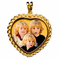 New Custom Design 14K Gold Heart Photo Charm with Rope Keep Sake Picture Pendant