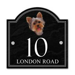 Custom Yorkshire Terrier House name sign House Number Plaque Dog House Sign