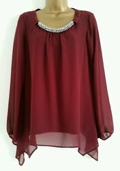 New Ex Wallis Plum Red Embellished Necklace Evening Blouse Top Tunic 6-22