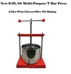 New S.s 6.0l T-bar Style Multi-function Wine/fruit/cheese/olive Oil Making Press