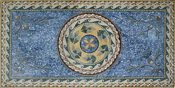 Blue Rug Color Of Lead Flower Wavy Border Home Decormarble Mosaic Cr707