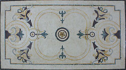 Royal Fountain Design Curved Lines Abstract Flowers Carpet Marble Mosaic Cr845