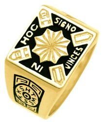 New Menand039s 10k Or 14k Yellow Or White Goldasonic Knights Templar Ring