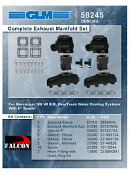 Mercruiser Marine Chevy 454/7.4/7.4l Glm Exhaust Manifolds+3 Risers+6 Spacers