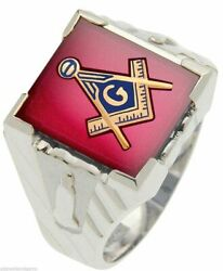 Menand039s 0.925 Sterling Silver Or Vermeil Masonic Blue Lodge Solid Back Ring