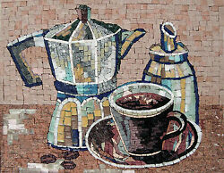Coffee Time Pitcher Morning Coffee Kitchen Marble Mosaic Geo1154