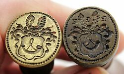 2x Antique 19th C Wax Seal Stamp Coat Of Arms Hoorn Or Horn Initials E.g.h