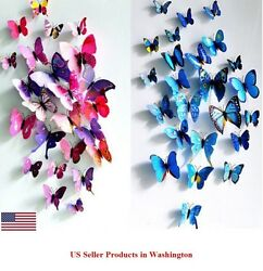 24 Pcs 2 Sets 3D Butterfly Wall Stickers amp; Magnetic Decals Home Room Decor $6.93