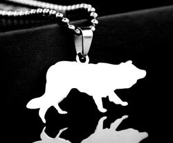 Stainless Steel Herding Collie Pet Dog Tag Charm Pendant Necklace Border sheep