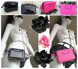 1 VICTORIA SECRET BLACK HOT PINK BOW STUDDED CROSSBODY WALLET CLUTCH PURSE NWT $29.99