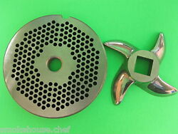 22 X 1/8 Meat Grinder Plate And Knifestainless Fits Hobart Tor-rey Lem And More