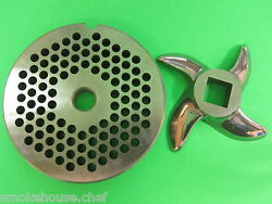 22 X 3/16 Meat Grinder Plate And Knife Stainless Fits Hobart Tor-rey Lem And More