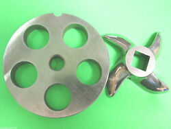 22 X 3/4 Meat Grinder Plate And Knife Stainless Fits Hobart Tor-rey Lem And More