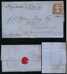 PENNY RED SCOTS LOCAL USED as CANCEL...QUEEN STREET BOXED..SCp16 + RECEIPT STAMP