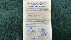Lionel 465 Dispatching Station Instructions Photocopy