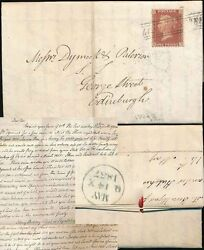 PENNY RED 1857 SCOTS LOCAL USED as CANCEL...LONDON STREET + LETTER