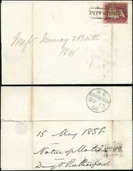 PENNY RED 1858 SCOTS LOCAL BOXED USED as CANCEL...PITT STREET