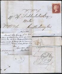 PENNY RED 1858 SCOTS LOCAL USED as CANCEL...HANOVER STREET to CASTLEDOUGLAS
