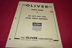 Oliver Tractor 3472 3496 Spike Tooth Harrow Dealer's Parts Book Manual Bvpa