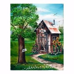 Outhouse Print His And Hers Painting Unframed Fun Bathroom Decor Geneva Trimble