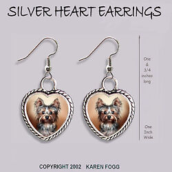 YORKSHIRE TERRIER Puppy Yorkie - HEART EARRINGS Ornate Tibetan Silver