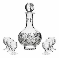 Russian Cut Crystal Glass Decanter And Set Of 6 Vodka Shot Glasses Ussr Glassware