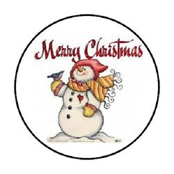 48 Merry Christmas Snowman Envelope Seals Labels Stickers 1.2 Round