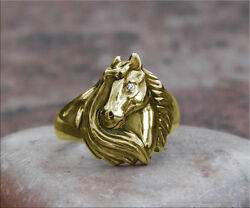 Beautiful Solid 14k Gold Noble Horse Equestrian Ring With Genuine Diamond