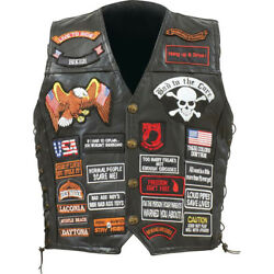 Biker Vest Lace-Up Buffalo Leather Motorcycle USA Flag Eagle w 42 Patches