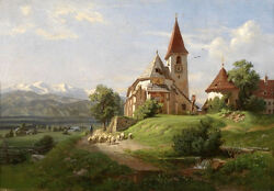 Art Oil Painting 19th Century Southern German School Landscape And Church Canvas