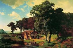Large Oil Painting Albert Bierstadt - A Rustic Mill Farmer's House By Stream 36