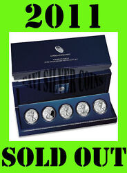 2011 Us Mint 25th Anniversary 5 Coin Set American Silver Eagle From Sealed Box