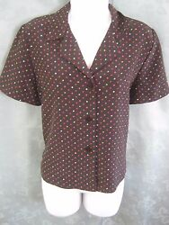 Leslie Fay Blouse Size 10P 10 Petite Multi-Color Micro Polka Dot Career Top