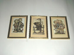 3 Hummel Framed Prints Glass Brad Nails Wood And Gold Signed Limited Edition Child