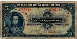 Colombia Note 5 1928 Vf+