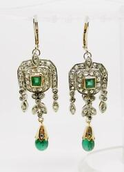 14k Gold And Sterling Silver Antique Rose Cut Diamonds Emerald Earrings - Lb2422